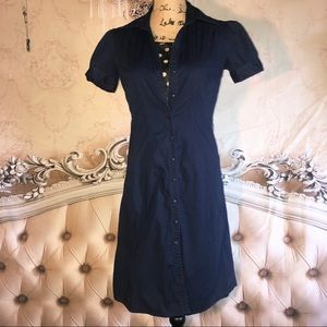 H&M Navy Puff Sleeve Button Down Shirt Dress